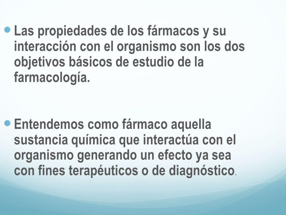 Las propiedades de los fármacos y su interacción con el organismo son los dos objetivos básicos de estudio de la farmacología.