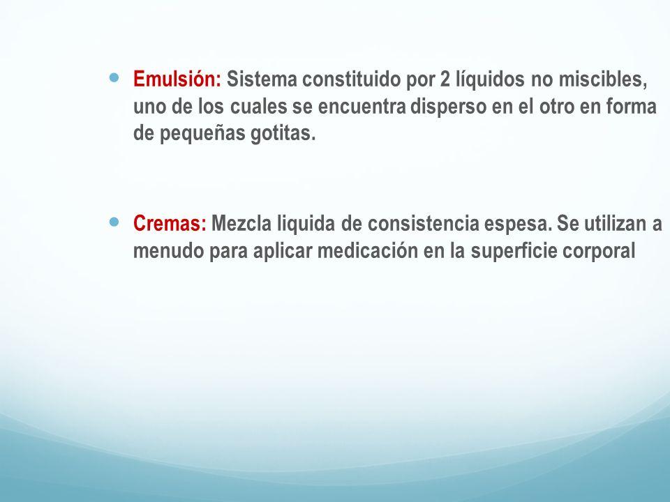 Emulsión: Sistema constituido por 2 líquidos no miscibles, uno de los cuales se encuentra disperso en el otro en forma de pequeñas gotitas.