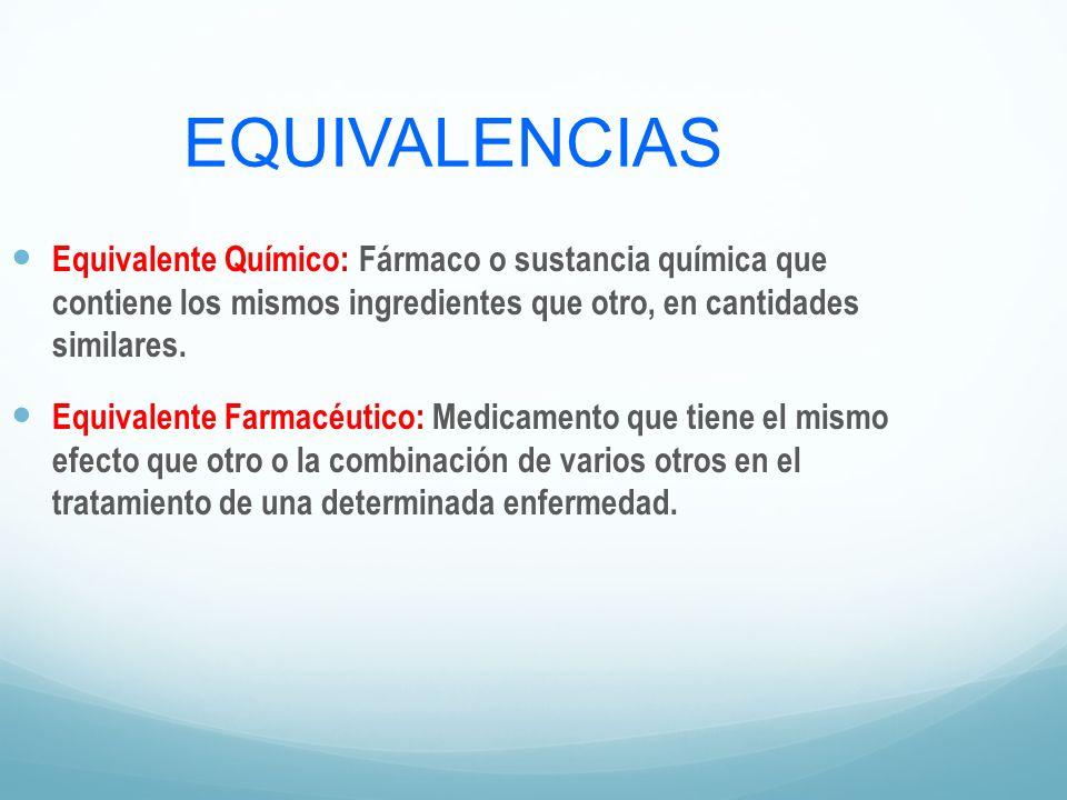 EQUIVALENCIAS Equivalente Químico: Fármaco o sustancia química que contiene los mismos ingredientes que otro, en cantidades similares.