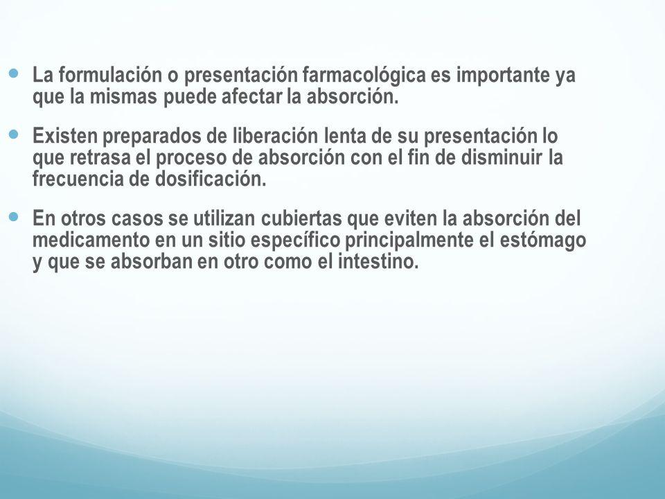 La formulación o presentación farmacológica es importante ya que la mismas puede afectar la absorción.
