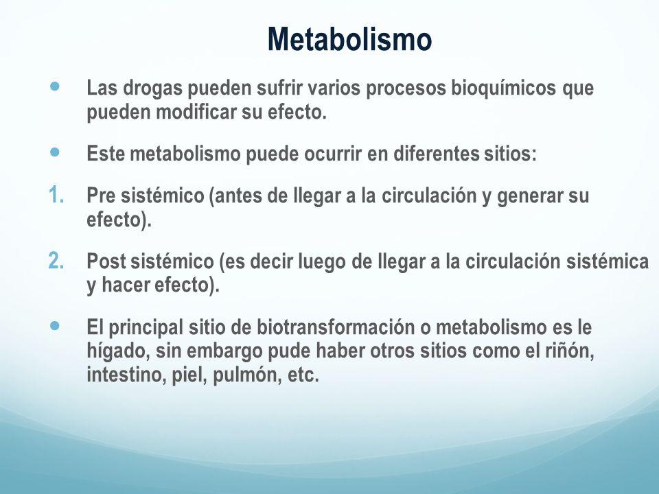 Metabolismo Las drogas pueden sufrir varios procesos bioquímicos que pueden modificar su efecto.