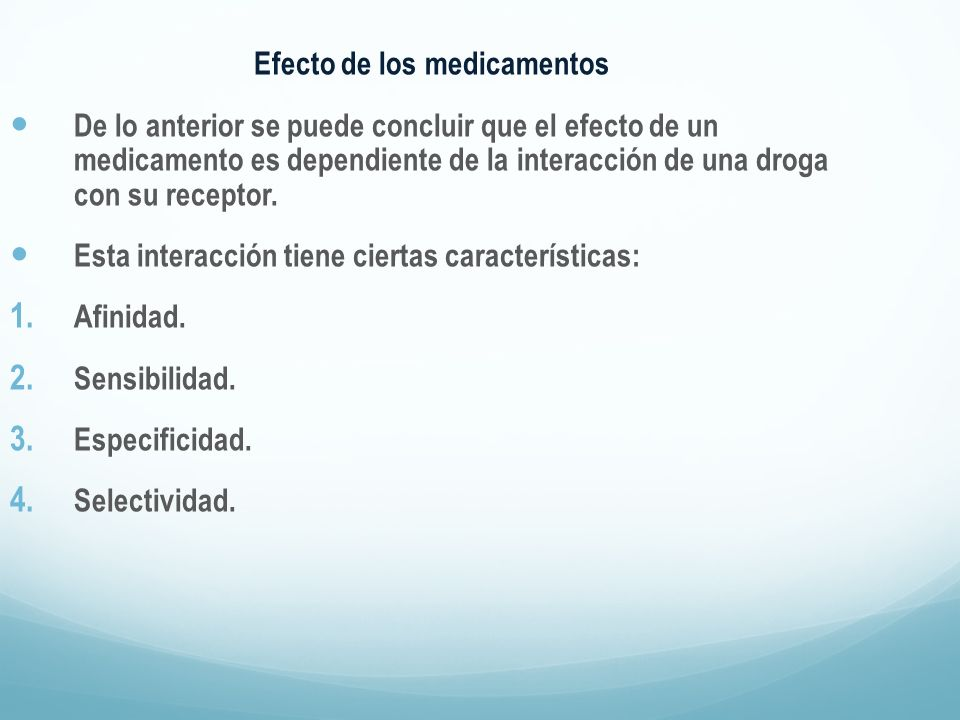 Efecto de los medicamentos