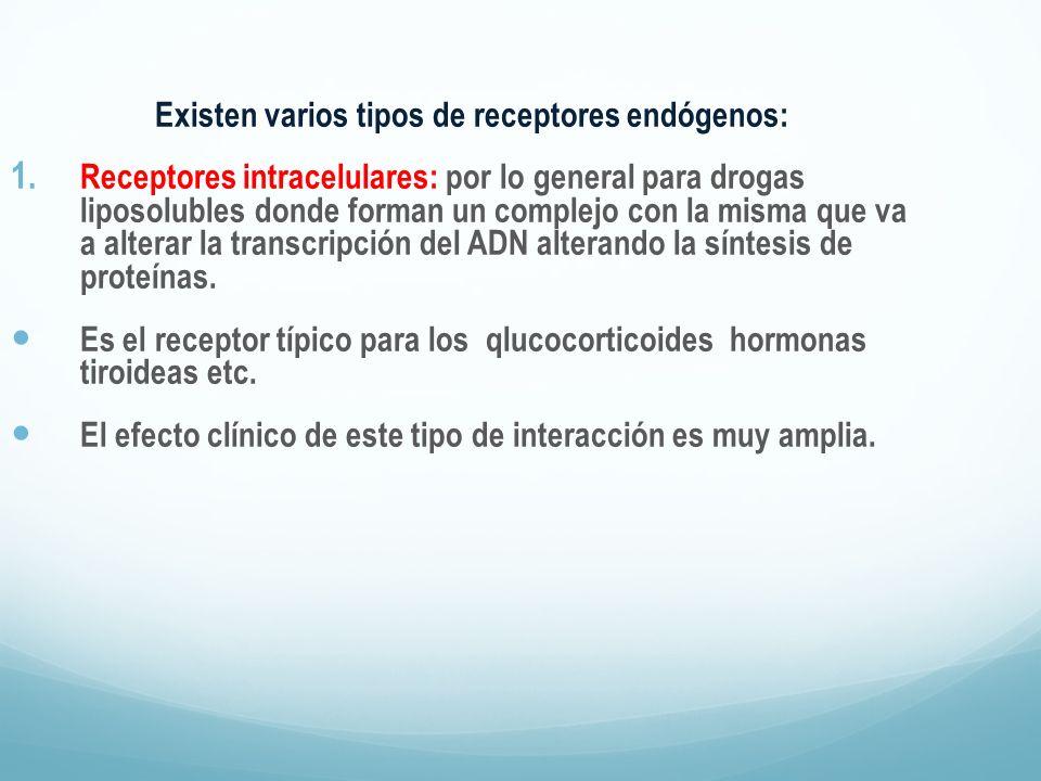 Existen varios tipos de receptores endógenos: