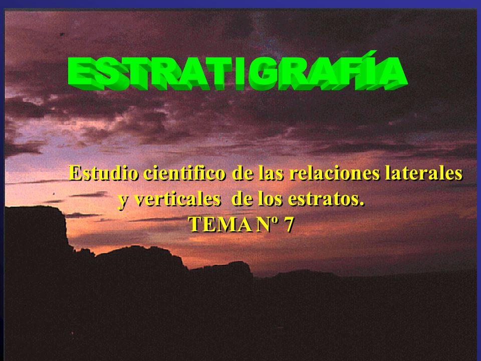 ESTRATIGRAFÍA Estudio cientifico de las relaciones laterales y verticales de los estratos.