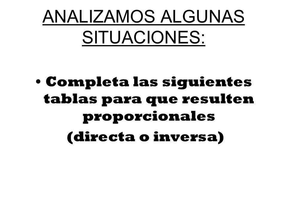 ANALIZAMOS ALGUNAS SITUACIONES: