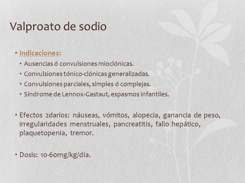 Valproato de sodio Indicaciones: