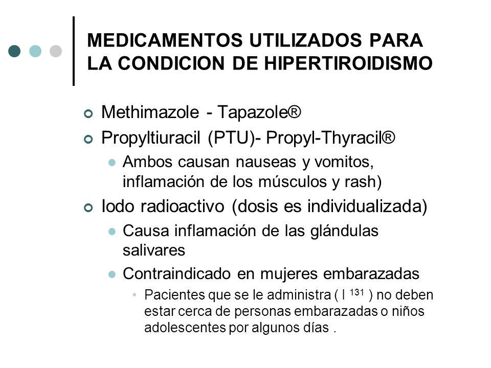 MEDICAMENTOS UTILIZADOS PARA LA CONDICION DE HIPERTIROIDISMO