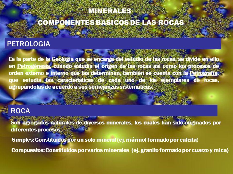 PETROLOGIA ROCA COMPONENTES BASICOS DE LAS ROCAS MINERALES