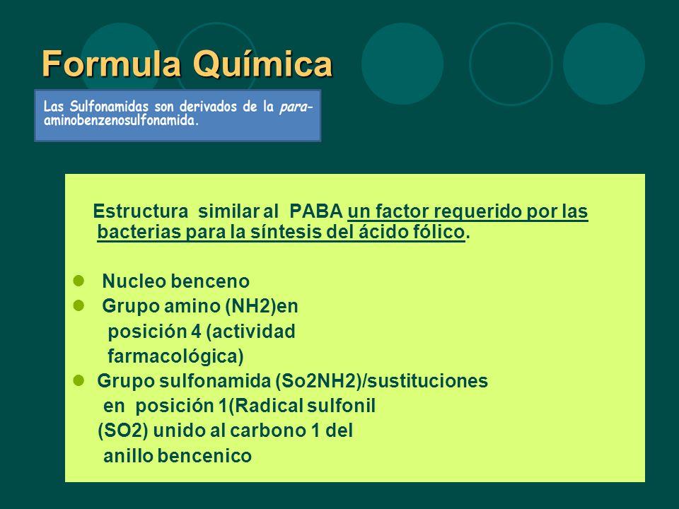 Formula Química Estructura similar al PABA un factor requerido por las bacterias para la síntesis del ácido fólico.