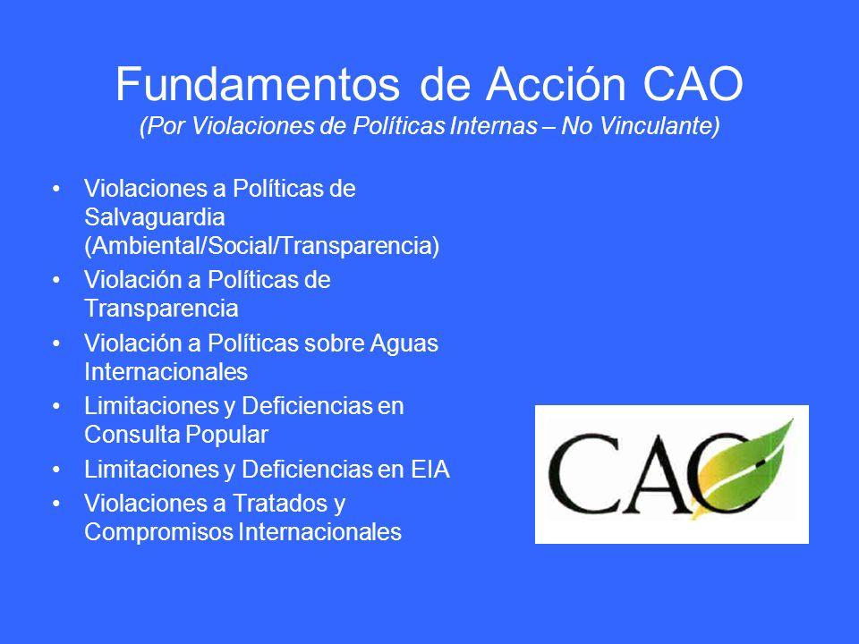 Fundamentos de Acción CAO (Por Violaciones de Políticas Internas – No Vinculante)
