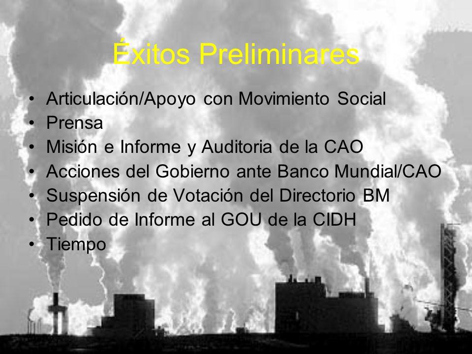 Éxitos Preliminares Articulación/Apoyo con Movimiento Social Prensa