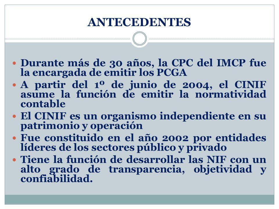 ANTECEDENTES Durante más de 30 años, la CPC del IMCP fue la encargada de emitir los PCGA.