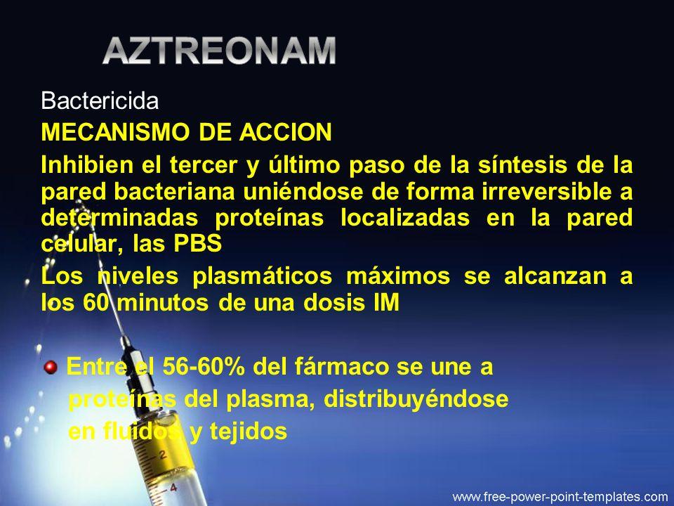 AZTREONAM Bactericida MECANISMO DE ACCION