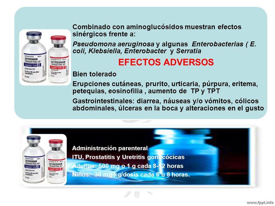Combinado con aminoglucósidos muestran efectos sinérgicos frente a: