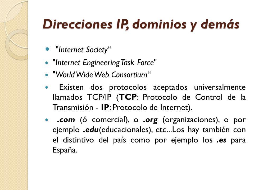 Direcciones IP, dominios y demás