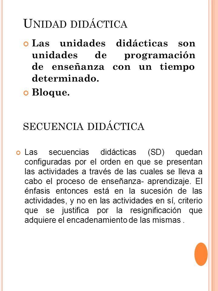 Unidad didáctica secuencia didáctica