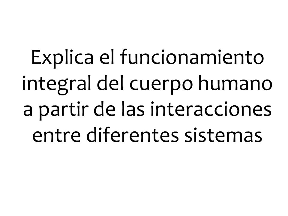 Explica el funcionamiento integral del cuerpo humano a partir de las interacciones entre diferentes sistemas