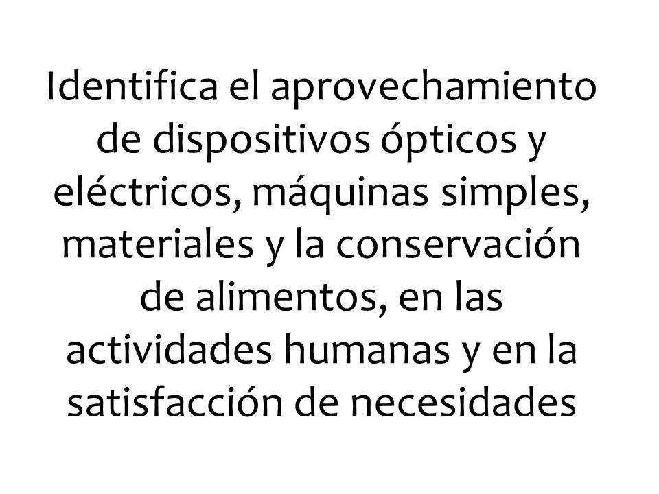 Identifica el aprovechamiento de dispositivos ópticos y eléctricos, máquinas simples, materiales y la conservación de alimentos, en las actividades humanas y en la satisfacción de necesidades