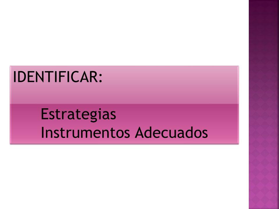 IDENTIFICAR: Estrategias Instrumentos Adecuados