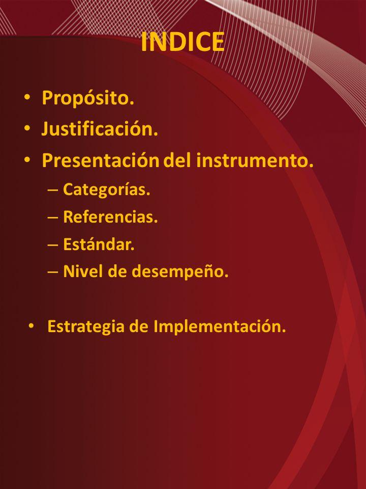 INDICE Propósito. Justificación. Presentación del instrumento.