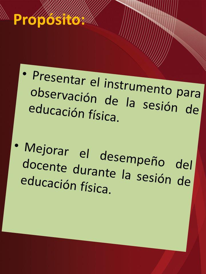 Propósito: Presentar el instrumento para observación de la sesión de educación física.