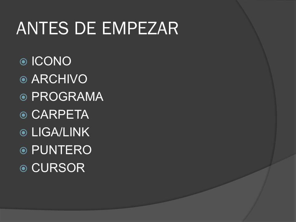ANTES DE EMPEZAR ICONO ARCHIVO PROGRAMA CARPETA LIGA/LINK PUNTERO