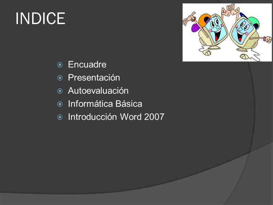 INDICE Encuadre Presentación Autoevaluación Informática Básica