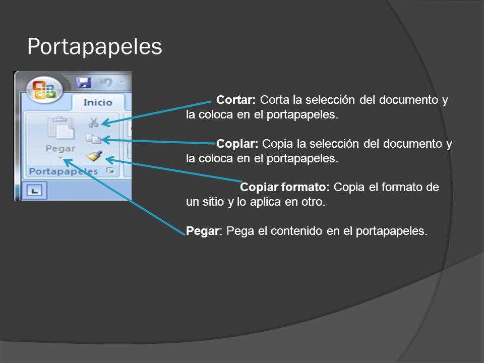 Portapapeles Cortar: Corta la selección del documento y la coloca en el portapapeles.