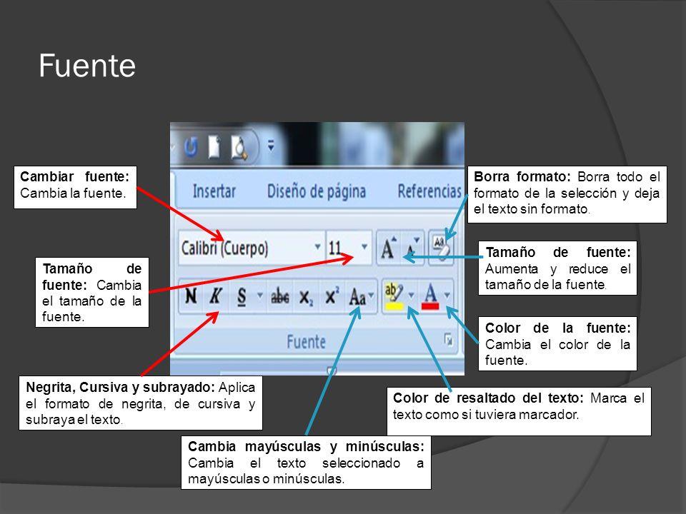 Fuente Cambiar fuente: Cambia la fuente.