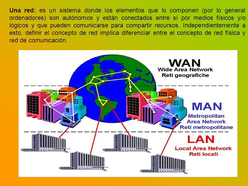 Una red: es un sistema donde los elementos que lo componen (por lo general ordenadores) son autónomos y están conectados entre sí por medios físicos y/o lógicos y que pueden comunicarse para compartir recursos.