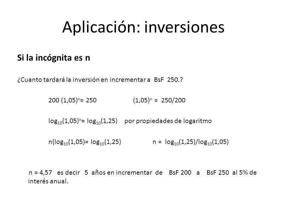 Aplicación: inversiones