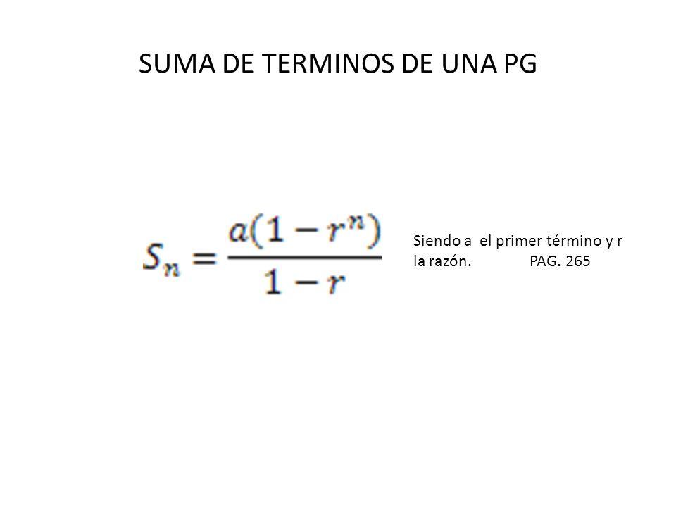 SUMA DE TERMINOS DE UNA PG
