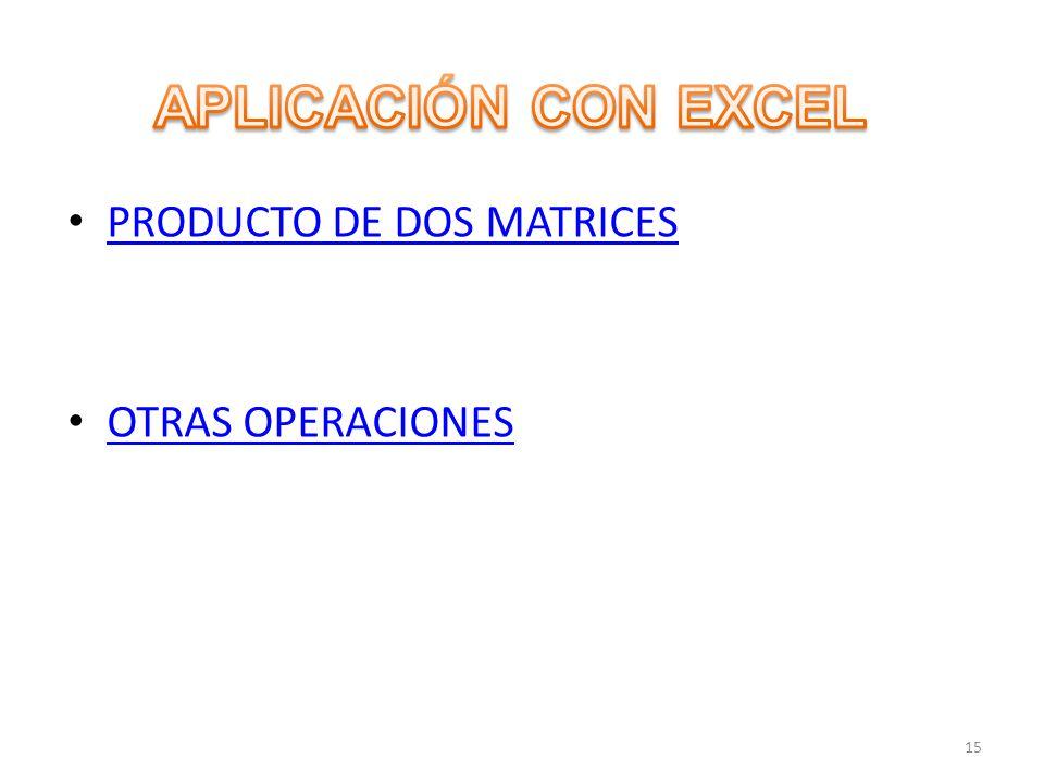 APLICACIÓN CON EXCEL PRODUCTO DE DOS MATRICES OTRAS OPERACIONES