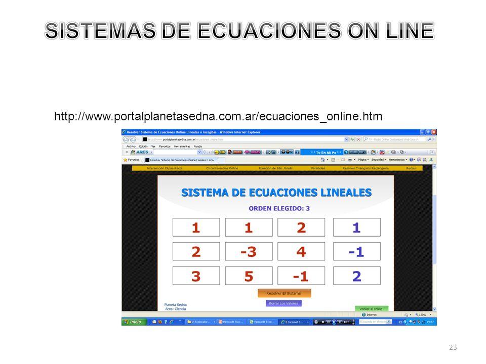 SISTEMAS DE ECUACIONES ON LINE