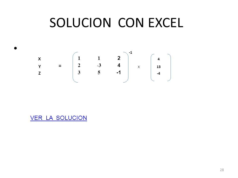 SOLUCION CON EXCEL -1 X 1 2 4 Y = -3 13 Z 3 5 -4 VER LA SOLUCION