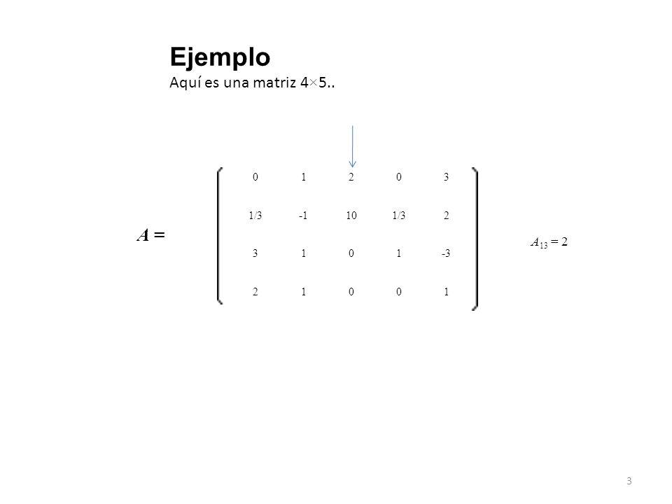 Ejemplo Aquí es una matriz 4×5.. A = 1 2 3 A13 = 2 1/3 -1 10 -3