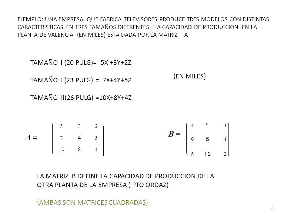 B = A = TAMAÑO I (20 PULG)= 5X +3Y+2Z TAMAÑO II (23 PULG) = 7X+4Y+5Z