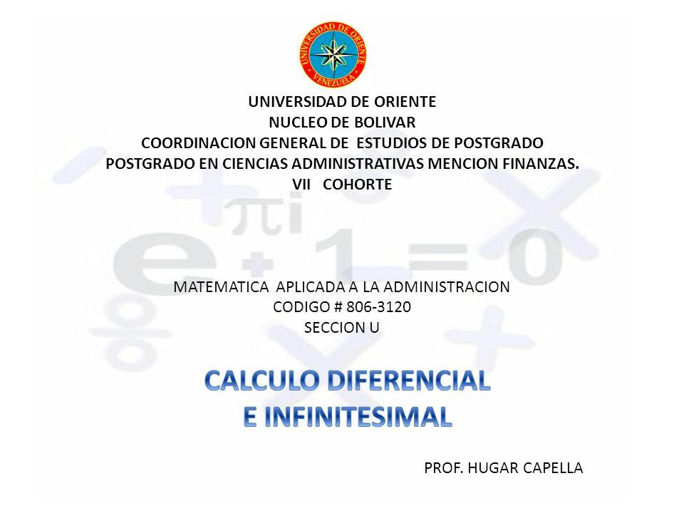 CALCULO DIFERENCIAL E INFINITESIMAL
