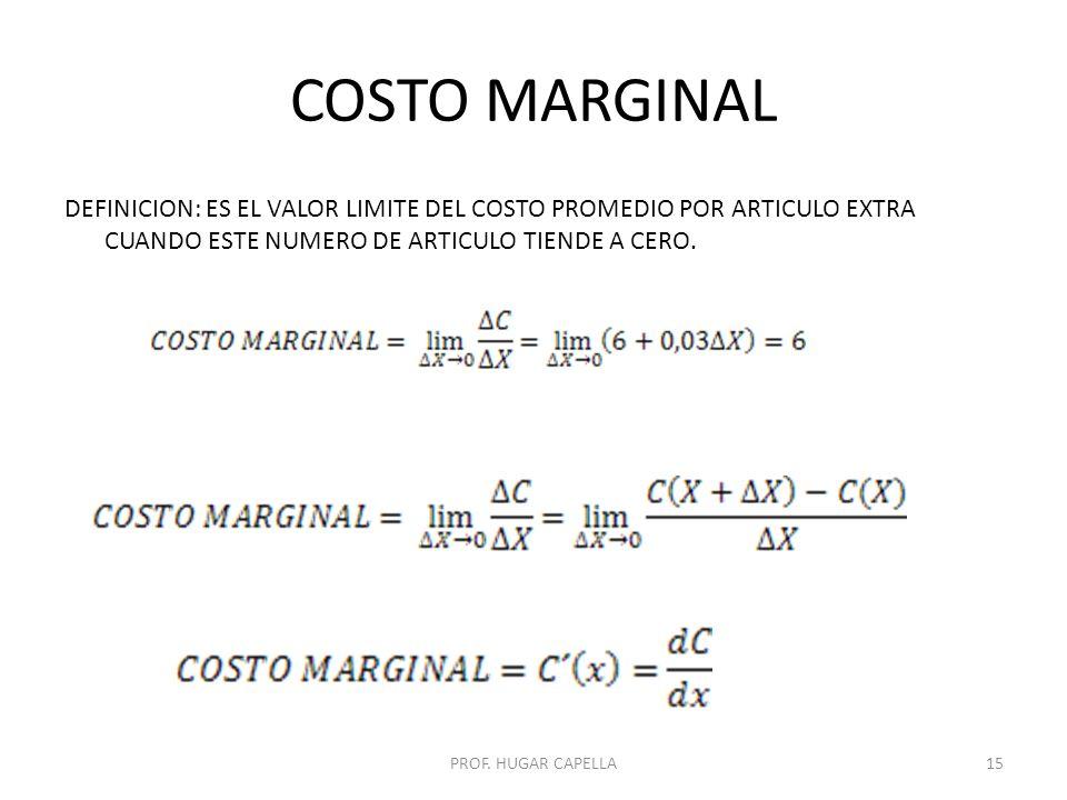 COSTO MARGINAL DEFINICION: ES EL VALOR LIMITE DEL COSTO PROMEDIO POR ARTICULO EXTRA CUANDO ESTE NUMERO DE ARTICULO TIENDE A CERO.