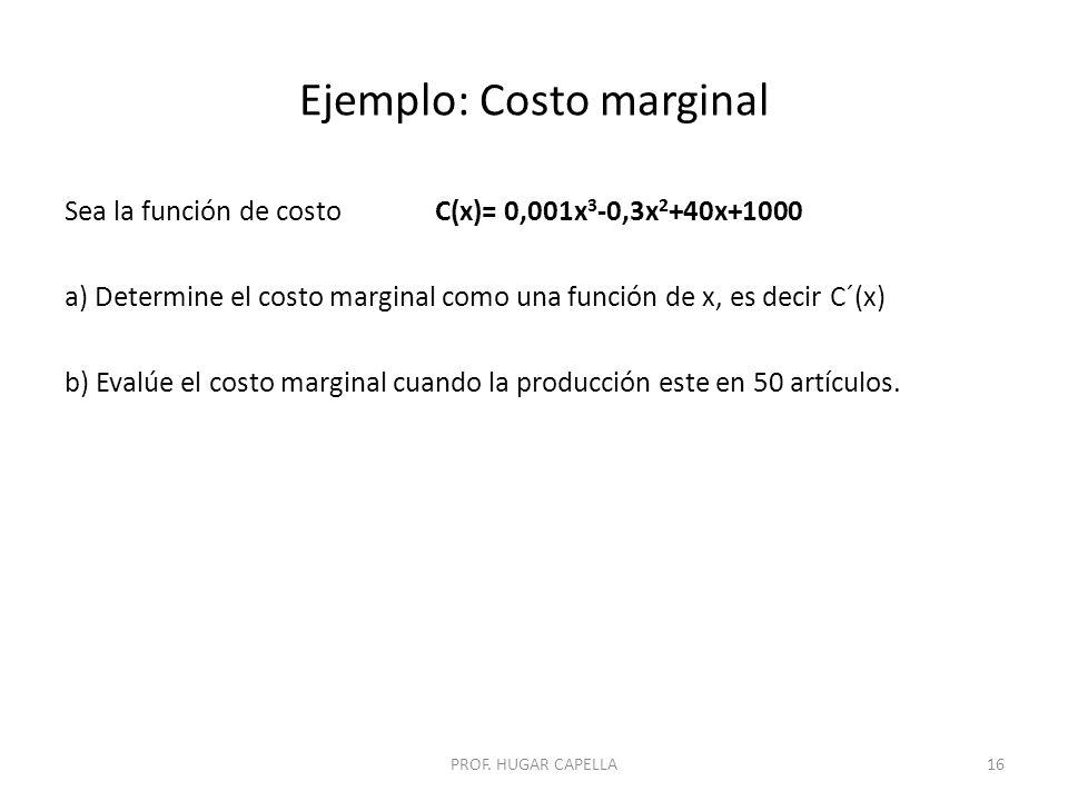 Ejemplo: Costo marginal