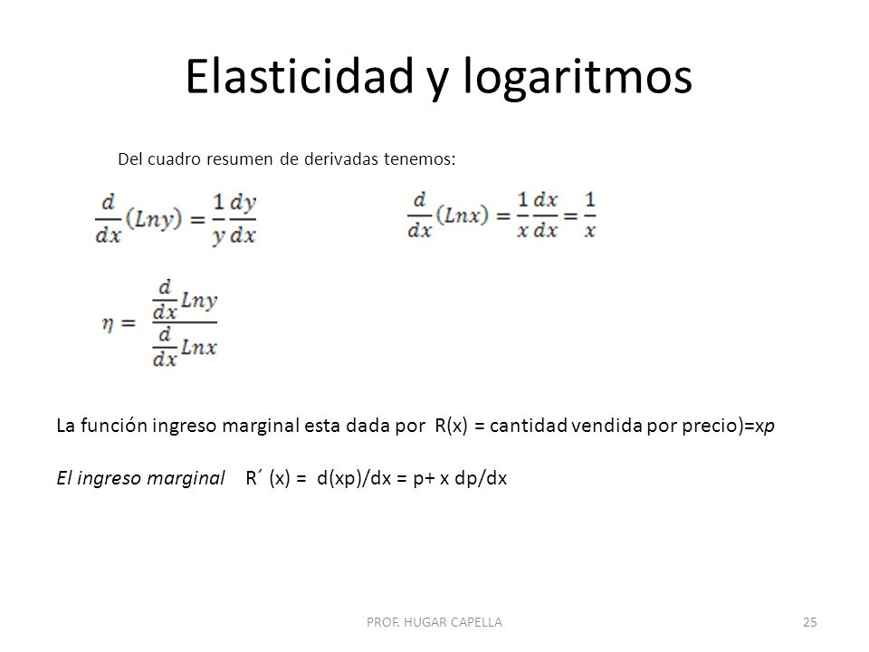 Elasticidad y logaritmos