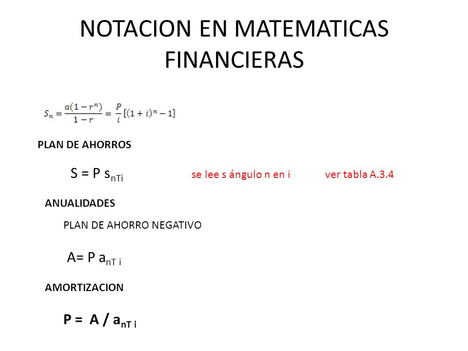NOTACION EN MATEMATICAS FINANCIERAS