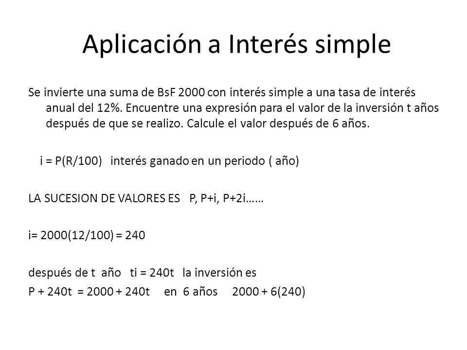 Aplicación a Interés simple