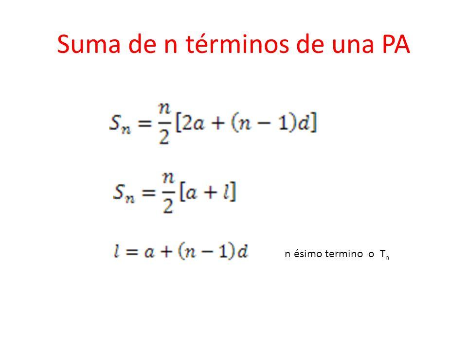 Suma de n términos de una PA