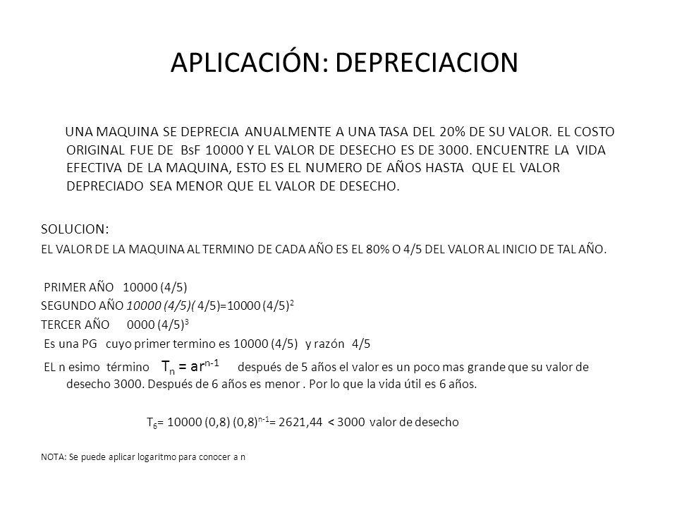 APLICACIÓN: DEPRECIACION