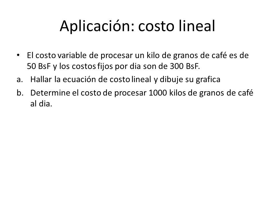 Aplicación: costo lineal