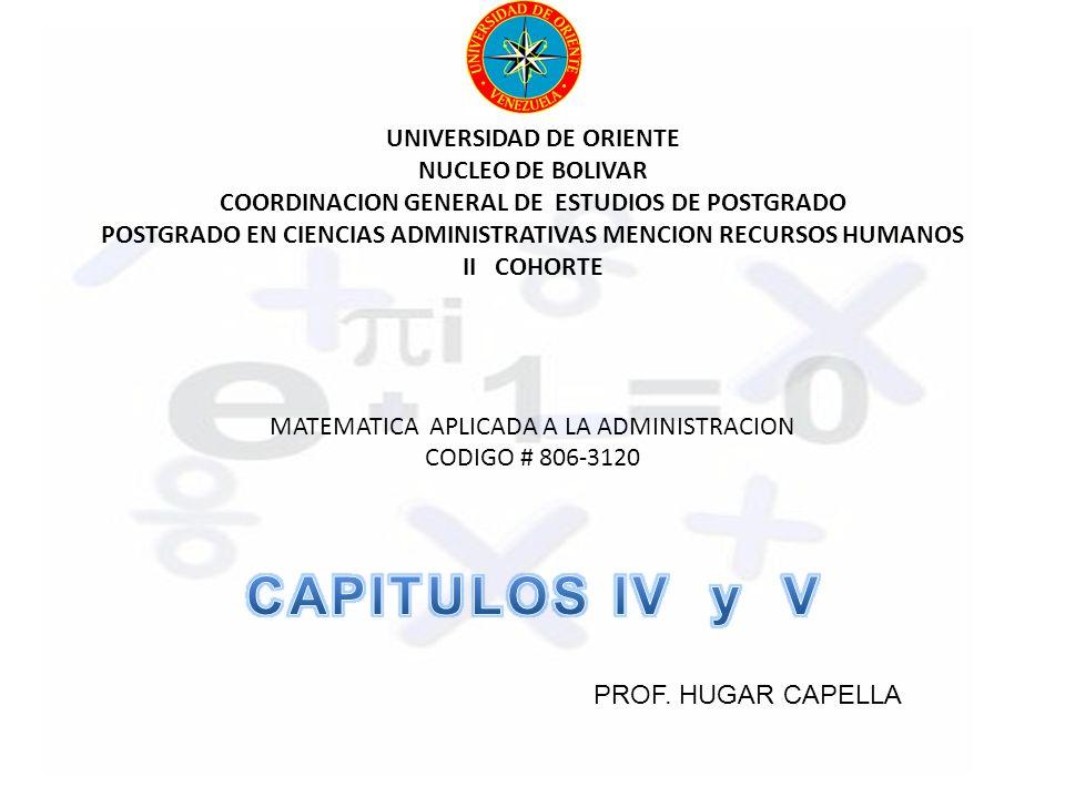 UNIVERSIDAD DE ORIENTE NUCLEO DE BOLIVAR COORDINACION GENERAL DE ESTUDIOS DE POSTGRADO POSTGRADO EN CIENCIAS ADMINISTRATIVAS MENCION RECURSOS HUMANOS II COHORTE MATEMATICA APLICADA A LA ADMINISTRACION CODIGO # 806-3120