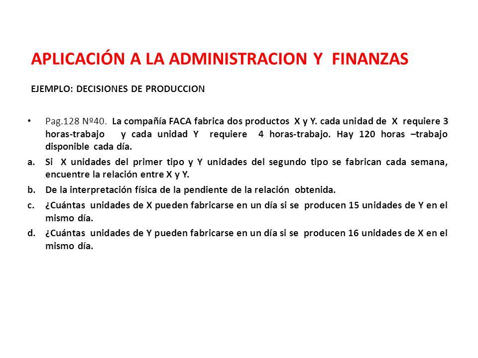 APLICACIÓN A LA ADMINISTRACION Y FINANZAS EJEMPLO: DECISIONES DE PRODUCCION