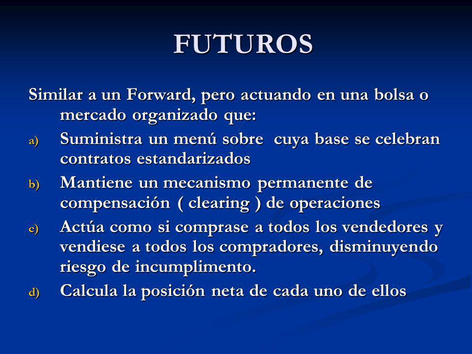 FUTUROS Similar a un Forward, pero actuando en una bolsa o mercado organizado que: