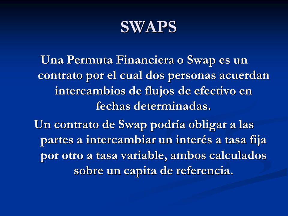 SWAPS Una Permuta Financiera o Swap es un contrato por el cual dos personas acuerdan intercambios de flujos de efectivo en fechas determinadas.